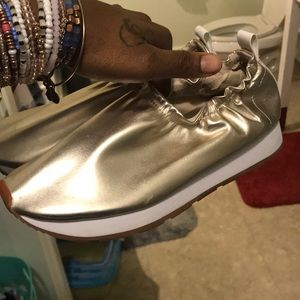 Gold zara sneakers